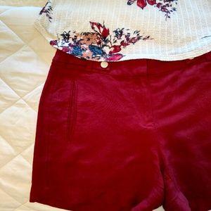 WHBM Linen Blend Cranberry Red Shorts